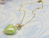 Peppermint Soda Striped Pale Green Peppermint Peach Silver Murano Venetian Glass Heart and Charm Necklace with 14KT Goldfill and Swarovski