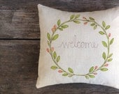 Welcome Wreath Pillow Cover, Decorative Handmade Pillow, Unique Home Decor, Green Vine, Red Berries, Gift idea under 50 MADE to ORDER