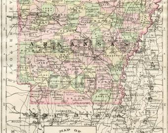 Arkansas Map - Vintage Map - Original 1895 Map of Arkansas - Little Rock Hot Springs Eureka Springs Fayetteville Jonesboro