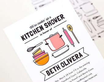 Kitchen Bridal Shower Invitation, Kitchen Shower Invite // GET COOKIN'