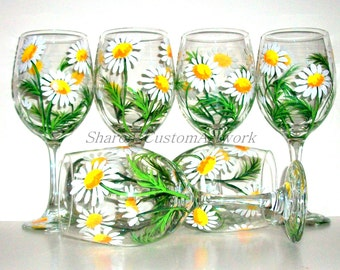 Springtime White Daisies Hand Painted Wine Glasses Set of 6 / 20 oz. Wine Glasses, Painted, Wine, Handpainted Wine Glasses Daisy Wedding