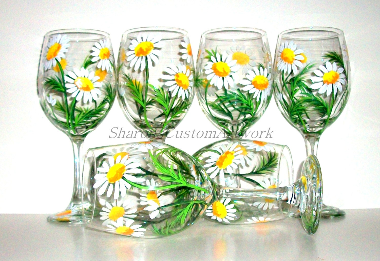Springtime white daisies hand painted wine glasses set of 6 for What paint do you use to paint wine glasses