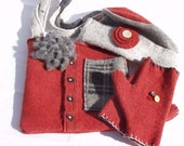 Orange and Gray Wool Hat, Fingerless Gloves and Purse Set: handmade from Felted Wool Sweaters, Ocher