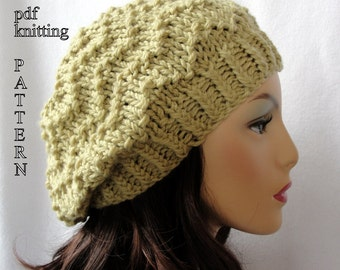 Knitted Hat Pattern, Knit slouch beanie pattern, Knit Chevron Slouch Beanie Pattern