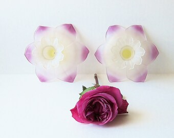Satin Glass Candlestick Holders - Vintage Home Decor - Frosted Glass Candleholders - Lotus Flower Design - Art Nouveau Edwardian Style