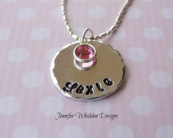 Children's Birthstone Necklace - Personalized Name Necklace - Birthstone Necklace - Hand Stamped Necklace - Keepsake Jewelry