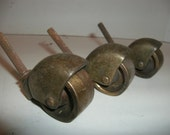 Salvaged Industrial Brass Metal Caster Swivel Wheels Set of Three