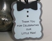 Little Man Favor Tags - Bow Tie tags, baby shower tags, tuxedo style tags in blue and gray, set of 12
