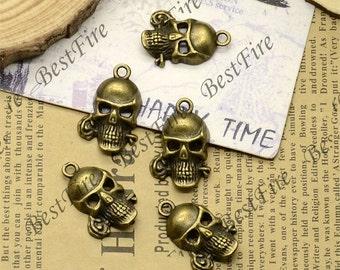 12pcs of Antiqued brass day of the dead skull charm pendant ,charm skull pendant findings 13x24mm