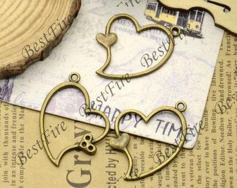 12PCS Of 26x36MM Antique Bronze Charm heat Pendant,metal finding,pendant beads, heart pendant jewelry findings