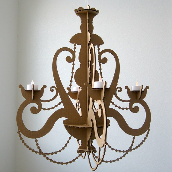 th l ger lustre lustre en carton bougie chandelier. Black Bedroom Furniture Sets. Home Design Ideas
