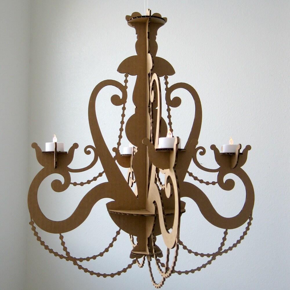 tea light chandelier cardboard chandelier candle. Black Bedroom Furniture Sets. Home Design Ideas