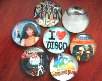 DISCO MAGNETS Set of 7 Glass Bubble Magnets