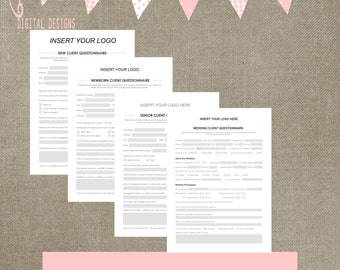 new client / customer questionnaire template for photographers for newborn, wedding, senior and family business form for elements or cs