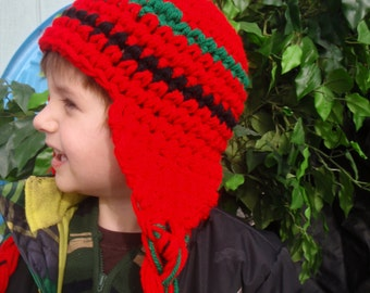 Cherry Red Green and Black Ear Flap Hat Beanie Child Size Elementary Student
