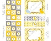 DIY -  Printable: Grey Rubber Ducky Baby Shower - Set of 15 Items - Instant Download