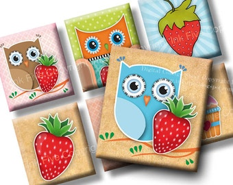 Strawberry Field Forever scrabble tile images 0.75x0.83 inch squares. 4x6 inch blue red cartoon collage sheets. Digital download images
