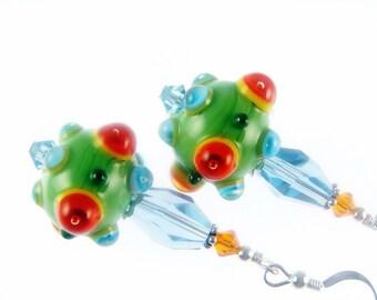 Green Earrings, Bumpy Glass Bead Earrings, Orange Dangle Earrings, Lampwork Jewelry, Beadwork Earrings