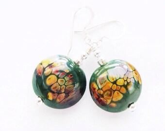 Glass Bead Earrings, Lampwork Earrings, Green Dangle Earrings, Beadwork Earrings, Lampwork Jewelry, Tan Earrings - Green Forest