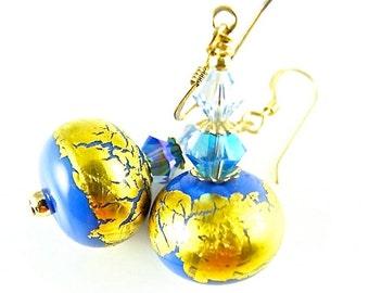 Golden Glass Bead Earrings, Blue Lampwork Earrings, Glass Bead Jewelry, Beadwork Earrings, Lampwork Jewelry, 14K Gold Filled Earrings,