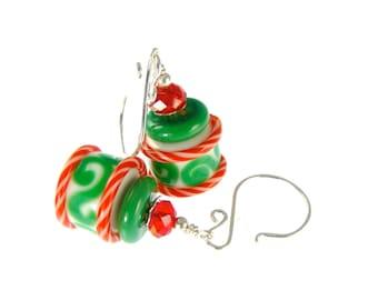 Red Green Lampwork Earrings, Christmas Earrings, Glass Bead Earrings, Holiday Jewelry, Lampwork Jewelry, White Barrel Beadwork Earrings