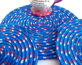 Memorial Day Hot Pads, Patriotic Picnic Decor, Blue Patio Trivet Set, Handmade Red White and Blue Hot Pads, Summer BBQ Placemats