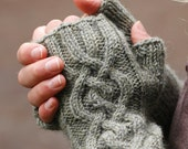 Long Cabled Gauntlet - women's fingerless mittens in lichen