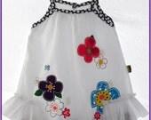 Easter dress, Summer Dress for girls, Super soft dress, White dress ( Size 3-4) Frilly dress, black and white polka dots, Birthday dress