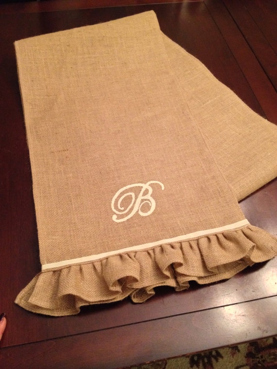 items similar to burlap table runner with monogram on etsy