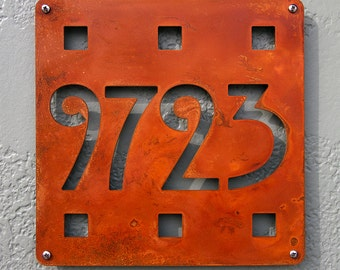 CUSTOM Mission Square House Number Sign in Rusted Steel