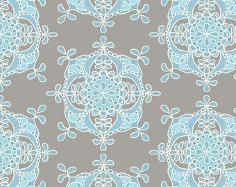 Priscilla Blue Wallpaper by Lila Tueller for Riley Blake- 1/2 yard