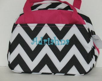 Personalized Girls Insulated Lunch bag-BLACK  Chevron with Fuchsia Trim