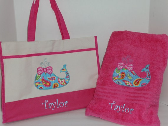 Personalized Girls BEACH Towel and BEACH BAG Pool Tote Pool Towel ...