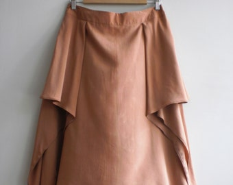 Long hippie asymmetric summer skirt with wide pleats.