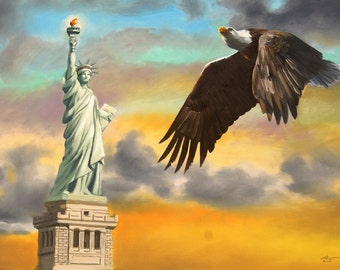 Statue Of Liberty eagle 24x36 original oils on canvas painting by RUSTY RUST / E-168