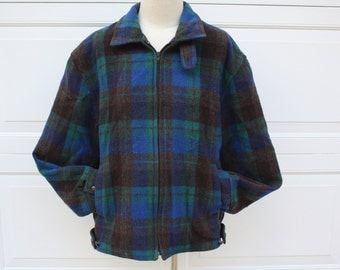 Vintage Wool Plaid Lumberjack Hunter Jacket Aqua Green Brown 60s Zip Rockabilly