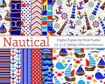 Nautical Digital Paper, Digital Scrapbook Paper Pack - Sailing Beach Vacation - Commercial and Personal Use