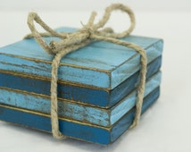 Four Piece Rustic Light Blue Reclaimed Wood Drink Coasters Cottage Chic Home Interior items Repurposed Wooden Kitchen Accessories Home Decor