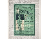 The Adventures of Huckleberry Finn Original Book Cover on a Vintage Dictionary Page