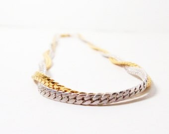 Vintage Avon- Interweave Necklace- 1978 Necklace- Twisted Chain- Two Tone Choker- Avon Choker- Signed Avon- Chain Choker- Traditional Choker
