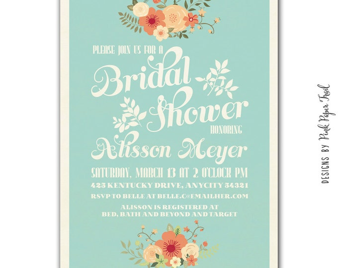 Rustic Vintage Spring Floral Invitation - Customizable Wordings - Printable - Wedding - Bridal Shower - Baby Shower - Birthdays