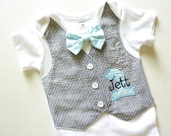 Personalized Little Prince First Birthday Tuxedo Bodysuit Vest with Removable Light Blue Polka Dot Bow Tie