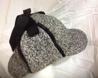 Tweed Herringbone Wool Deerstalker (Sherlock Holmes) Hat with Genuine Mink Fur Ear Flaps and Grosgrain Ribbon Ties