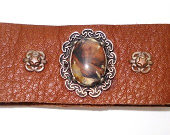 Brecciated Jasper & Brown Leather Cuff Bracelet Free Shipping