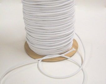 "White 1/8"" Elastic Cording, New Sewing Notions, Craft Supplies, 10 yds White Elastic, elas017/10"