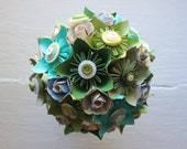 Paper Flower Bouquet - Wedding, Green, Teal, White, Kusudama, Paper Rose