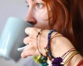 Boho Chic Bangle - Tassel Bracelets - Stacking Bangle - Beadwork Bracelets - Rhinestones Bangle - Bohemian Bracelets - Free Shipping