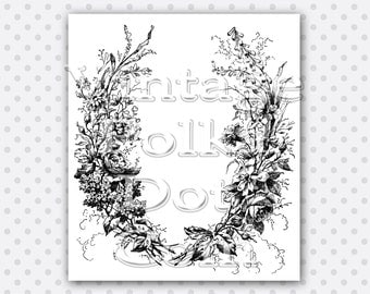 Clip Art Garland of Vintage Flowers Wreath Wildflowers Art Graphics Clipart Printable Digital Instant Download Large Size