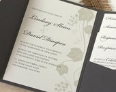Grape Vine Wedding Invitation, Vineyard Wedding Invitation, Green and Gray, DEPOSIT
