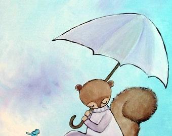 Lily Pond Original Childrens Art Print for Kids Room Decor Little Girls Squirrel